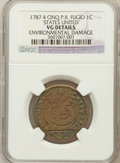 1787 1C Fugio Cent, STATES UNITED, 4 Cinquefoils, Pointed Rays--Environmental Damage-- NGC Details. VG. NGC. NGC Census:...