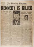 "Miscellaneous:Newspaper, [John Kennedy]. Shenandoah [Iowa] The Evening Sentinel""KENNEDY IS KILLED"", November 22, 1963. Slightly toned, e..."