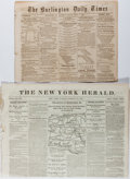 Miscellaneous:Newspaper, [Civil War Newspapers]. The Burlington Daily Times and The New York Herald, 1861 and 1863. Reports o...