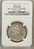 Seated Half Dollars: , 1859-S 50C --Improperly Cleaned, Scratches--NGC Details. VF. NGCCensus: (0/58). PCGS Population (1/94). Mintage: 566,000. N...