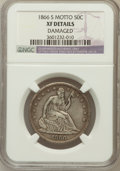 Seated Half Dollars, 1866-S 50C Motto--Damaged--NGC Details. XF. NGC Census: (3/44).PCGS Population (7/39). Mintage: 994,000. (#6320)...