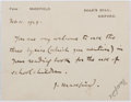 "Autographs:Authors, John Masefield, English Poet and Writer. Autograph Note Signed ""J. Masefield"". On Masefield's printed notecard. Very goo..."