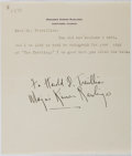 "Autographs:Authors, Marjorie Kinnan Rawlings, American Author. Typed Letter Inscribed ""To Harold Trevillian / Marjorie Kinnan Rawlings"". One..."