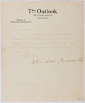 "Autographs:U.S. Presidents, Theodore Roosevelt. Typed Letter Signed ""TheodoreRoosevelt"". One page, on the letterhead of The Outlook, amagazine to ..."