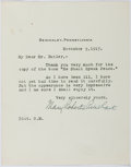 """Autographs:Authors, Mary Roberts Rinehart, American Author. Typed Letter Signed """"Mary Roberts Rinehart"""". One page, on her personal stationer..."""
