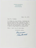 "Autographs:Artists, Norman Rockwell. Typed Letter Signed ""Norman Rockwell"". Onepage, on his personal letterhead, September 25, 1973. Fine...."