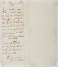Autographs:Authors, Sir Walter Scott. Autograph Note. An unsigned note, dated August27, 1810 in which Scott discusses the sale and whereabouts ...