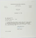 """Autographs:Authors, Scott Turow, American Author. Typed Letter Signed """"Scott"""". One page, on his legal office letterhead, September 30, 1988...."""