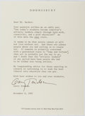 "Autographs:Artists, Gary Trudeau, American Cartoonist. Typed Letter Signed ""Gary Trudeau"". One page, on Doonesbury letterhead, November 8, 1..."