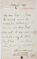 """Autographs:Authors, Anthony Trollope, English Novelist. Autograph Letter Signed""""Anthony Trollope"""". One page, on his personal stationery,Ja..."""
