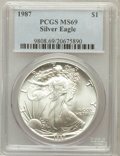 Modern Bullion Coins: , 1987 $1 1oz Silver Eagle MS69 PCGS. PCGS Population (5975/10). NGCCensus: (83558/282). Mintage: 11,442,335. Numismedia Wsl...