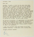 "Autographs:Celebrities, Les Tremayne, Actor and Radio Personality. Typed Letter Signed ""Les"". One page, March 18, 1978. Very good with the o..."