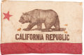 Western Expansion:Cowboy, California Republic: Early and Graphic Flag. ...