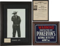 Western Expansion:Cowboy, Pinkerton Detective Agency Framed Advertisements. ... (Total: 3Items)