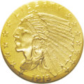 Proof Indian Quarter Eagles: , 1913 $2 1/2 PR67 NGC. The 1912 and 1913 proof quarter eagles havethe same general appearance with finely grained matte sur...