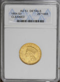 Three Dollar Gold Pieces: , 1854 $3 --Cleaned--ANACS. AU50 Details. A lightly worn and softlystruck example of this popular type issue. Cleaning has la...