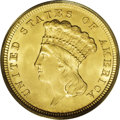 Three Dollar Gold Pieces: , 1854 $3 MS64 PCGS. Like the two cent piece and the twenty centpiece, the three dollar gold piece had its highest mintage f...