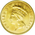 Three Dollar Gold Pieces: , 1888 $3 MS65 PCGS. Although considered a common date despite a lowmintage and by no means unusual in Mint State grades, th...