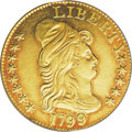 Early Half Eagles: , 1799 $5 Large Stars Reverse AU55 PCGS. Breen-6436, B. 3-F,Miller-37, R.6. Mint records indicate that only 7,451 half eagle...