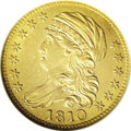 Early Half Eagles: , 1810 $5 Large Date, Large 5--Cleaned--ANACS. AU58 Details.Breen-6459, B. 1-A, Miller-109, R.2. A still-attractive example ...