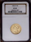 Liberty Half Eagles: , 1846-O $5 XF45 NGC. A lightly circulated straw-gold piece withrather glassy fields that host numerous tiny marks. This Cho...