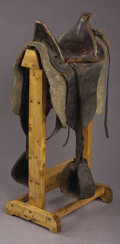 Western Expansion:Cowboy, U.S. MILITARY ARTILLERY DRIVERS SADDLE ca. 1860s - Brass bounddrivers or valese saddle with sewn felt pad; period replaced ...