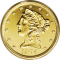 """Proof Liberty Half Eagles: , 1904 $5 PR64 Cameo PCGS. This piece is absolute verification of thediagnostics listed in Breen's 1988 Encyclopedia: """"P..."""