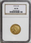 Indian Half Eagles: , 1915-S $5 AU58 NGC. A trace of friction is noted on the Indian's jaw. Well struck and still lustrous, though the orange-gol...