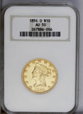 Liberty Eagles: , 1854-O $10 Small Date AU50 NGC. A lightly worn piece with anaverage strike. The lightly marked yellow-gold fields have rem...