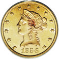 Liberty Eagles: , 1856 $10 MS62 PCGS. Difficult to find in any grade, this issue is agenuine condition rarity in Mint State. This piece has ...