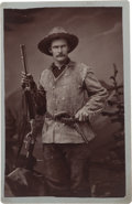 Photography:Cabinet Photos, Albumen Photograph: Scout with Winchester Rifle and Navy Colt....
