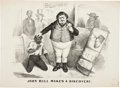 Political:Small Paper (pre-1896), Civil War: Anti-British Slavery vs. Cotton Cartoon....