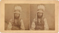 """Photography:Stereo Cards, Stereoview: """"Sioux Warrior in full Headdress""""...."""
