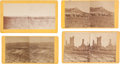 """Photography:Stereo Cards, Four Stereoviews: """"Stage Ranch on White Clay 7 Miles SE of Red Cloud Agency"""", """"Beef Corral SE of the Agency, Nebraska"""", """"Camp ... (Total: 4 Items)"""