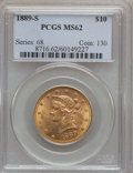 Liberty Eagles: , 1889-S $10 MS62 PCGS. PCGS Population (379/248). NGC Census:(416/107). Mintage: 425,400. Numismedia Wsl. Price for problem...