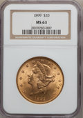 Liberty Double Eagles: , 1899 $20 MS63 NGC. NGC Census: (5410/1572). PCGS Population(2164/450). Mintage: 1,669,384. Numismedia Wsl. Price for probl...