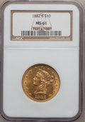 Liberty Eagles: , 1882-S $10 MS61 NGC. NGC Census: (122/108). PCGS Population(74/85). Mintage: 132,000. Numismedia Wsl. Price for problem fr...