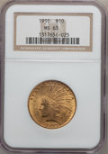 Indian Eagles: , 1910 $10 MS63 NGC. NGC Census: (1005/575). PCGS Population(962/335). Mintage: 318,500. Numismedia Wsl. Price for problem f...