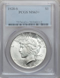 Peace Dollars: , 1928-S $1 MS63+ PCGS. PCGS Population (1897/1787). NGC Census:(1241/1310). Mintage: 1,632,000. Numismedia Wsl. Price for p...