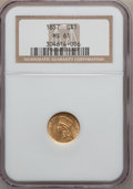 Gold Dollars: , 1857 G$1 MS61 NGC. NGC Census: (281/407). PCGS Population (63/297).Mintage: 774,789. Numismedia Wsl. Price for problem fre...