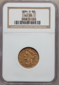 Liberty Half Eagles: , 1894-S $5 AU58 NGC. NGC Census: (46/25). PCGS Population (11/13).Mintage: 55,900. Numismedia Wsl. Price for problem free N...