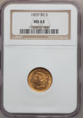 Liberty Quarter Eagles: , 1853 $2 1/2 MS63 NGC. NGC Census: (153/96). PCGS Population(104/70). Mintage: 1,404,668. Numismedia Wsl. Price for problem...