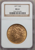 Liberty Double Eagles: , 1877 $20 MS61 NGC. NGC Census: (271/154). PCGS Population(183/141). Mintage: 397,670. Numismedia Wsl. Price for problemfr...
