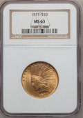 Indian Eagles: , 1911 $10 MS63 NGC. NGC Census: (1599/1107). PCGS Population(1580/623). Mintage: 505,595. Numismedia Wsl. Price for problem...