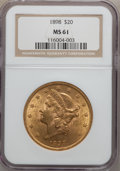 Liberty Double Eagles: , 1898 $20 MS61 NGC. NGC Census: (511/811). PCGS Population(373/672). Mintage: 170,300. Numismedia Wsl. Price for problemfr...