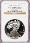 Modern Bullion Coins: , 1990-S $1 Silver Eagle PR70 Ultra Cameo NGC. NGC Census: (1109).PCGS Population (694). Mintage: 695,510. Numismedia Wsl. P...