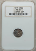 1841 H10C MS65 NGC. NGC Census: (26/12). PCGS Population (10/14). Mintage: 1,150,000. Numismedia Wsl. Price for problem...