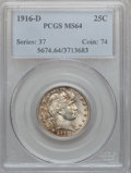 Barber Quarters: , 1916-D 25C MS64 PCGS. PCGS Population (503/422). NGC Census:(408/230). Mintage: 6,540,800. Numismedia Wsl. Price for probl...