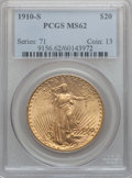 Saint-Gaudens Double Eagles: , 1910-S $20 MS62 PCGS. PCGS Population (1117/2418). NGC Census:(1432/1695). Mintage: 2,128,250. Numismedia Wsl. Price for p...