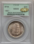 Commemorative Silver, 1951 50C Booker T. Washington MS66 PCGS. Gold CAC. PCGS Population(171/6). NGC Census: (93/9). Mintage: 510,082. Numismedi...